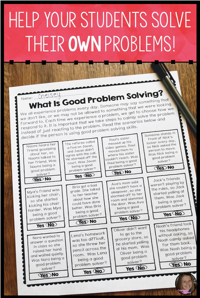 Social Problem Solving Worksheets Classroom Management