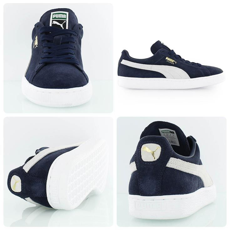 82cb40165c48 You can never go wrong with this comfy classic  Puma Suede navy white