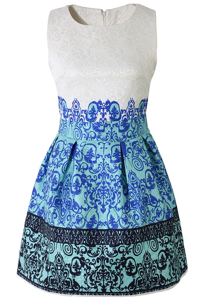 Baroque Embossed A-line Sleeveless Dress - Dress - Retro, Indie and Unique Fashion