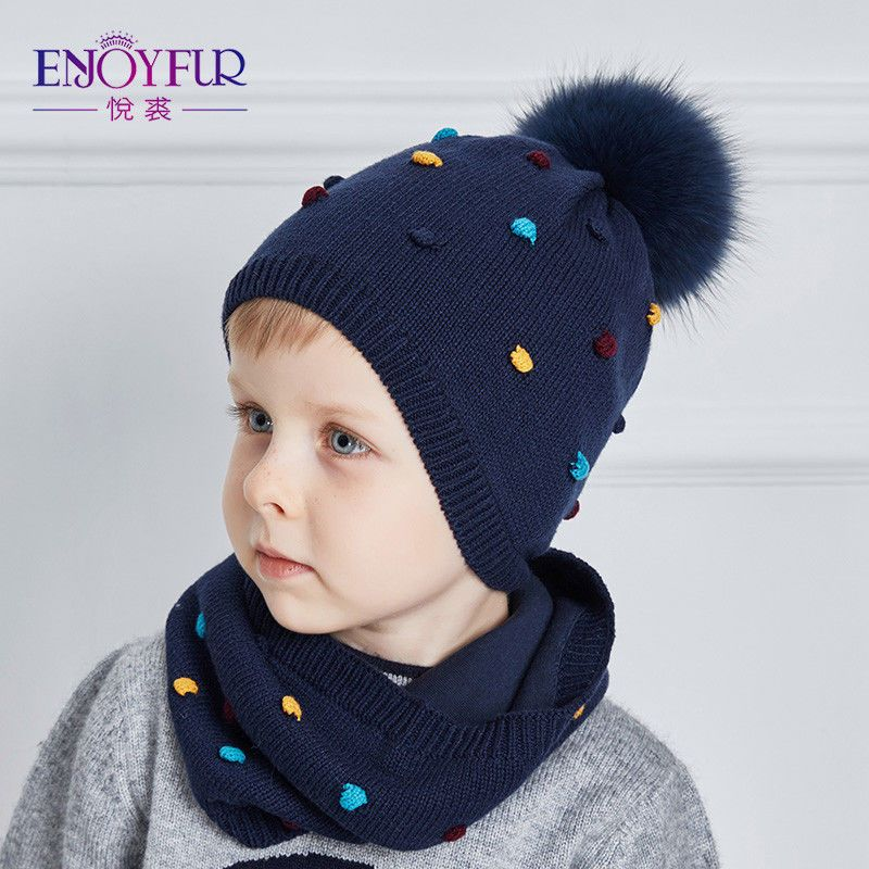 Baby Hat and Scarf Set Cotton Knitted Ears Caps Boy Cap Girl Warm Beanies  52dcb398e52f