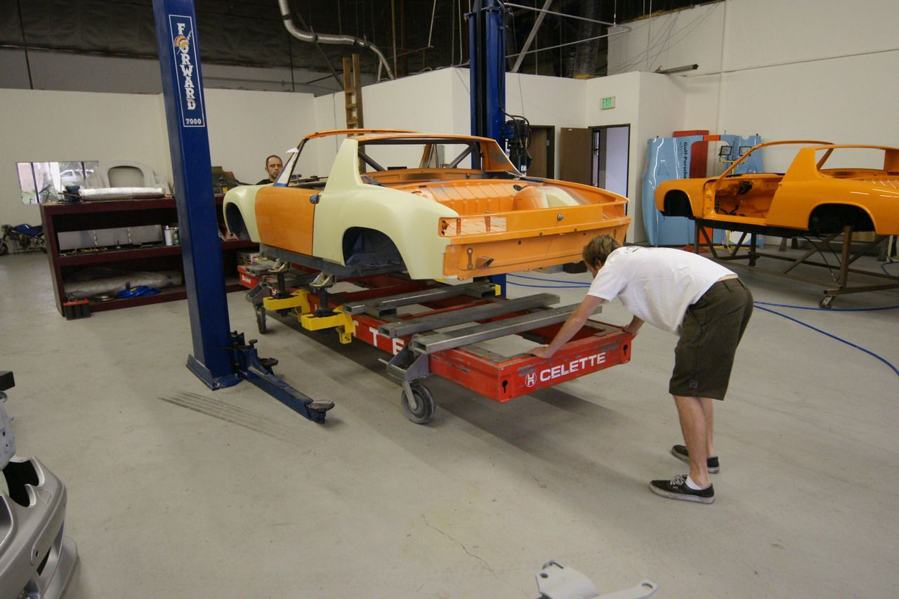 Porsche 9146 GT chassis on a celette car bench. The work