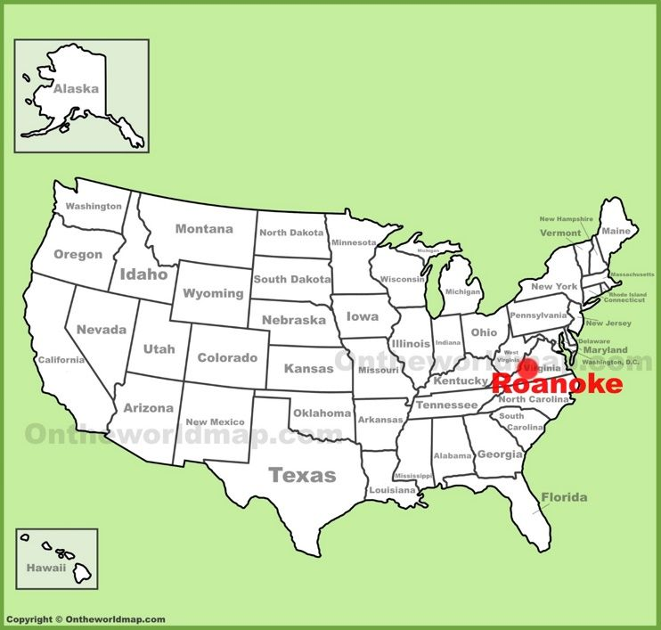 Roanoke location on the US Map Maps Pinterest Usa cities