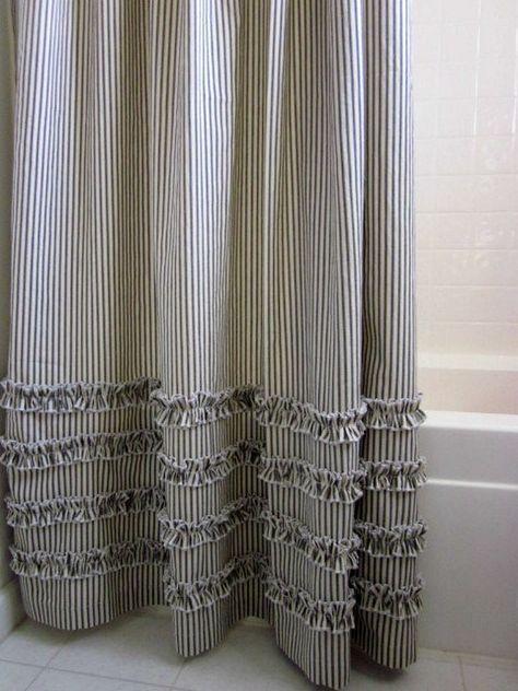 Vintage Ticking Stripe Shower Curtain with Ruffles   3 Sizes   Black Gray Navy Brown Red#black #brown #curtain #gray #navy #red #ruffles #shower #sizes #stripe #ticking #vintage