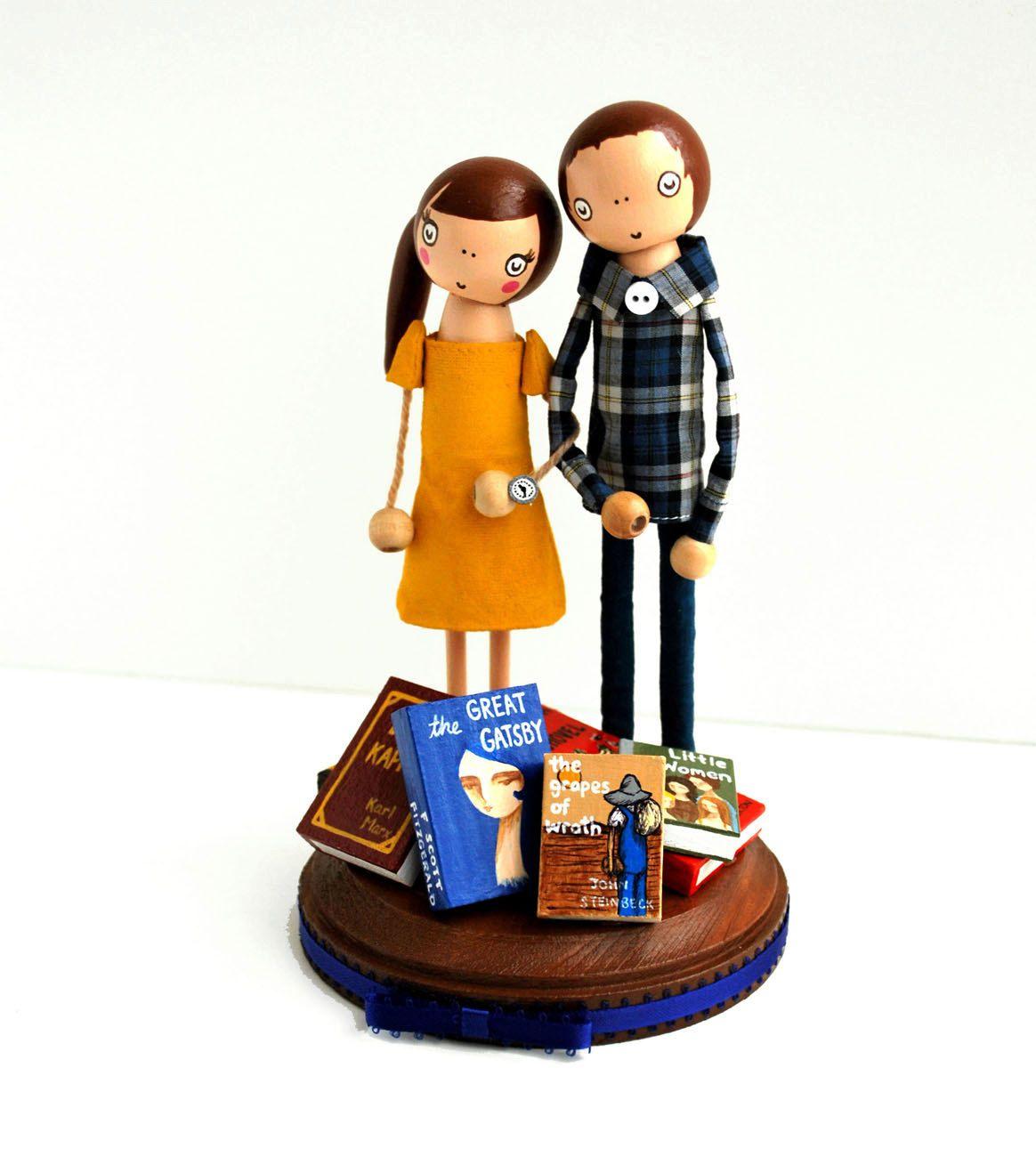 Custom love in the library wedding cake topper literary love