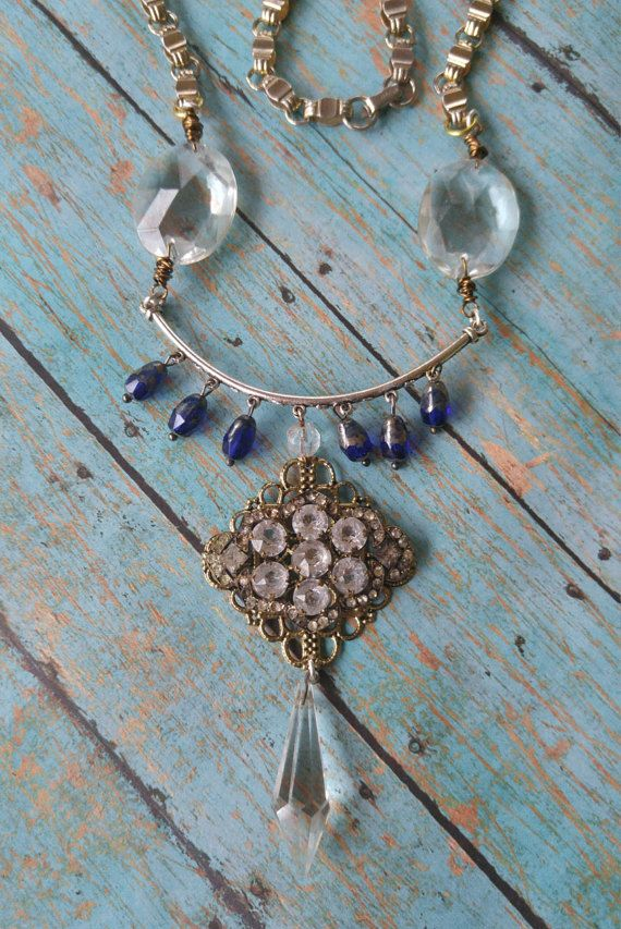 Upcycled Chandelier Crystal Necklace Repurposed By RustySpiderweb - Upcycled chandelier crystals