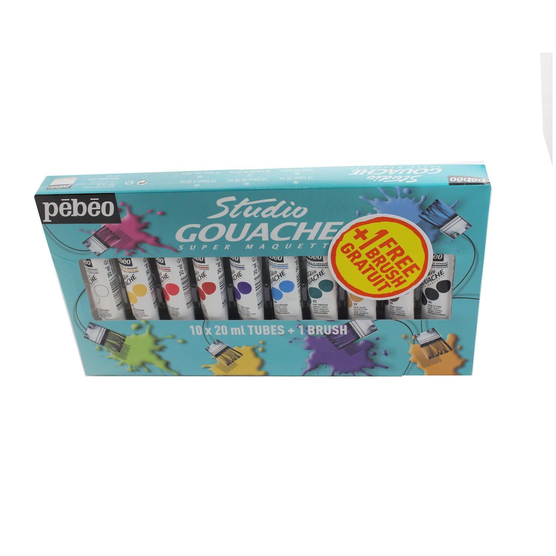 Pebeo Studio Gouache Paint Starter Set 10x20ml Gouache Painting