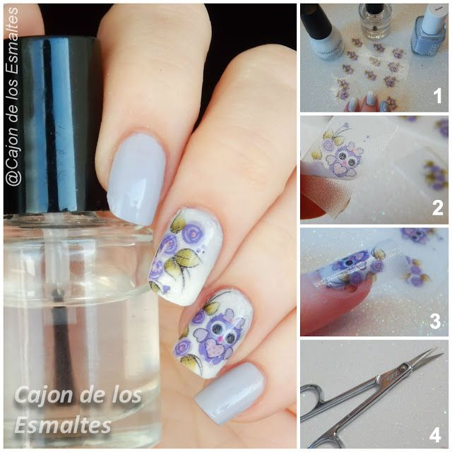 Spring flower and owls nail art - how to apply water decals or nail transfers