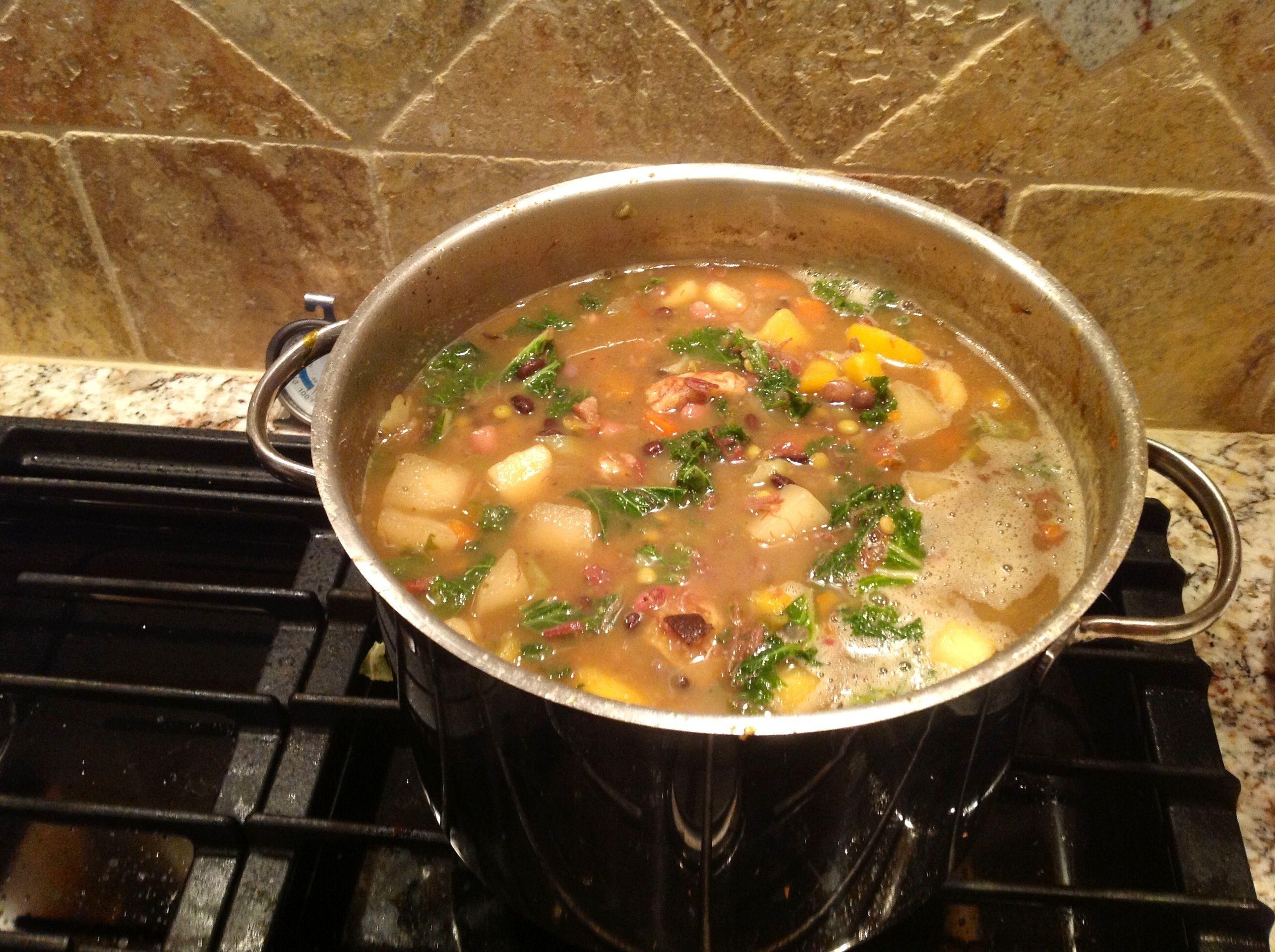 Smoked ham hock, bean, garden vegetable and kale soup. So good ...