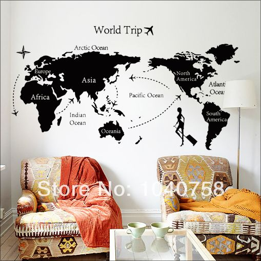 Pvc removable large world map wall sticker wallpaper poster home pvc removable large world map wall sticker wallpaper poster home decoration living room wall decals bedroom sciox Gallery