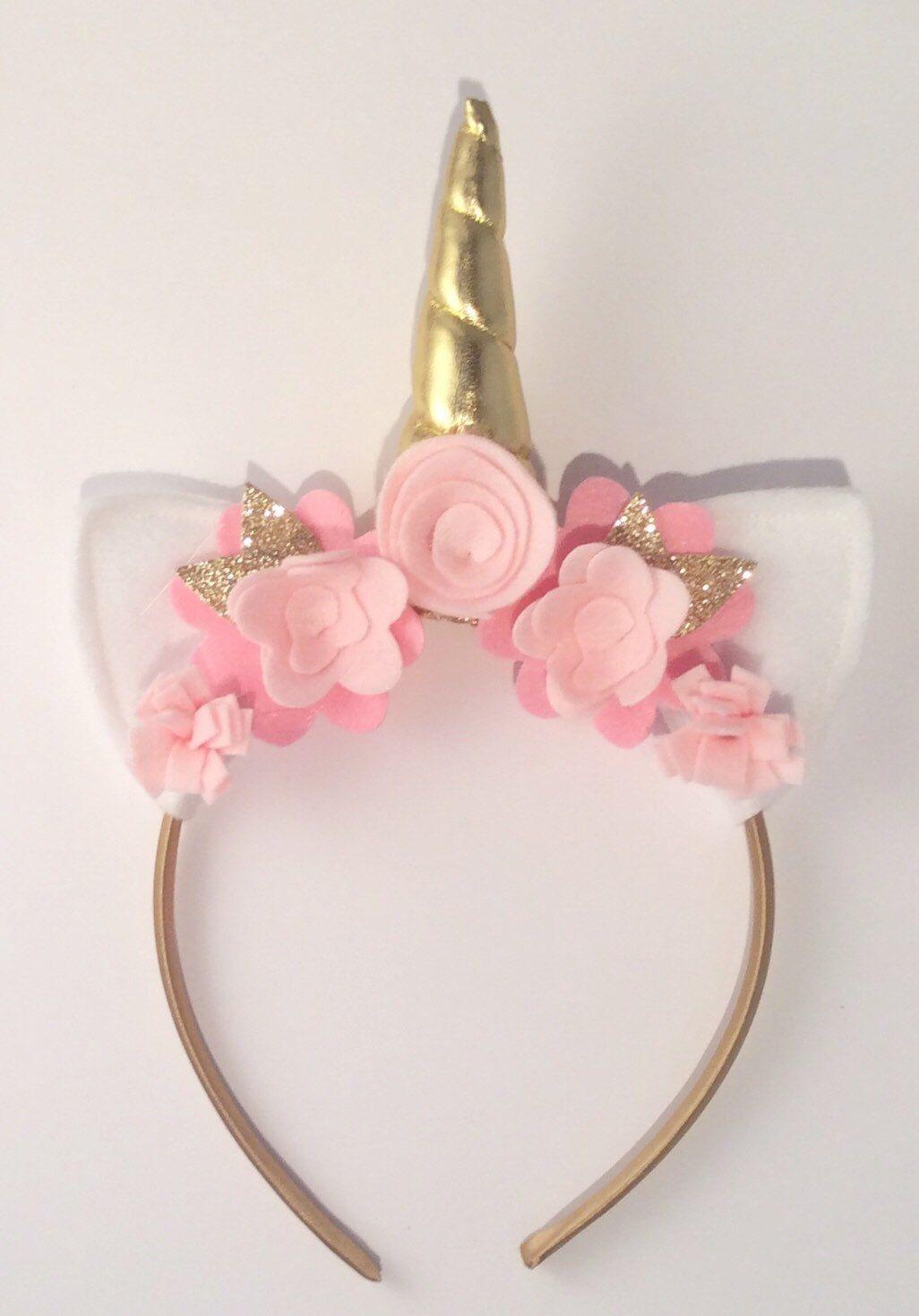 Pink And Gold Unicorn Headband Unicorn Birthday Party Unicorn