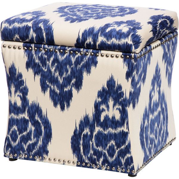 Curved Indigo Ikat Storage Ottoman Featuring Polyvore, Home, Furniture,  Ottomans, Blue, Ikat Ottoman, Nailhead Furniture, Contemporary Storage  Furniture, ...