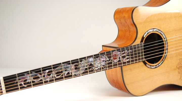 Blueberry Dreadnought Acoustic Guitar With Dragon Design