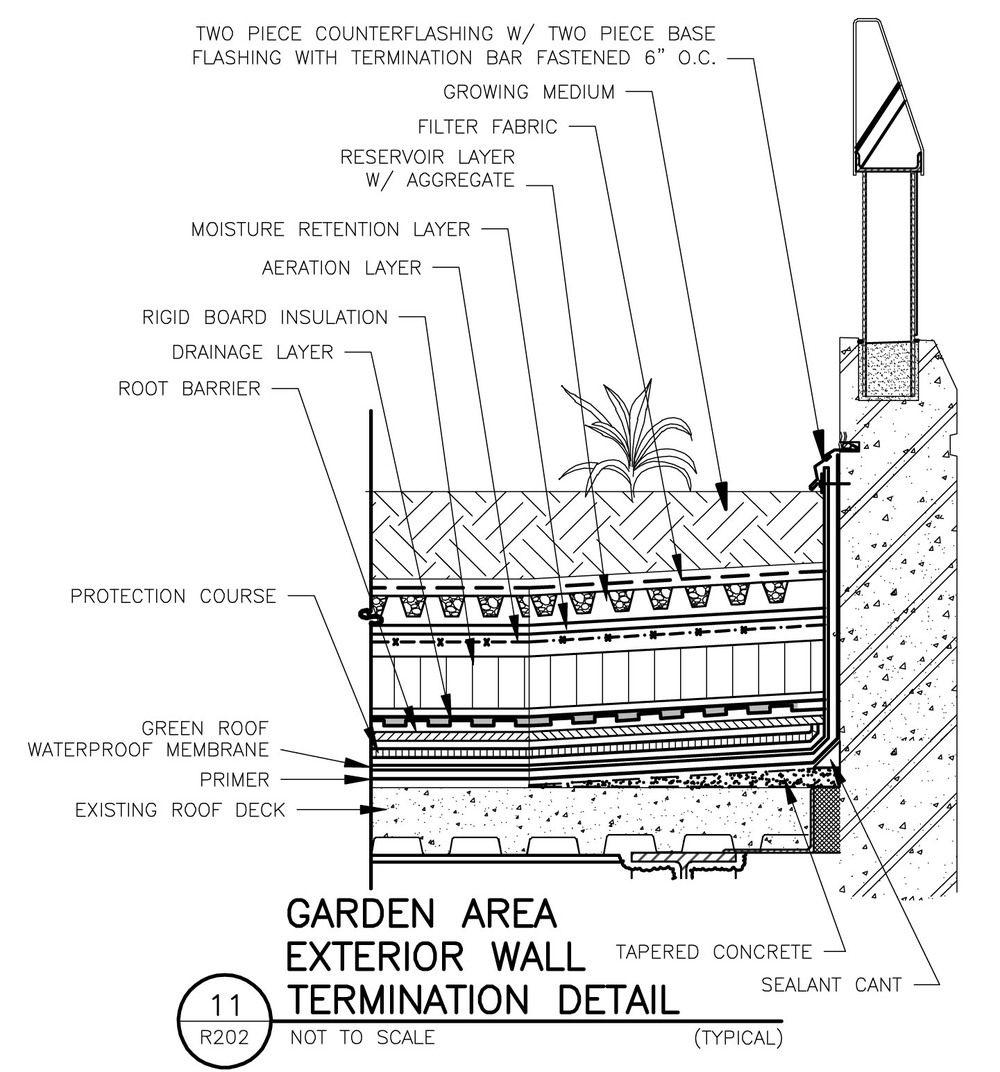 Gateway center roof garden plaza green wall roof - Exterior wall construction details ...