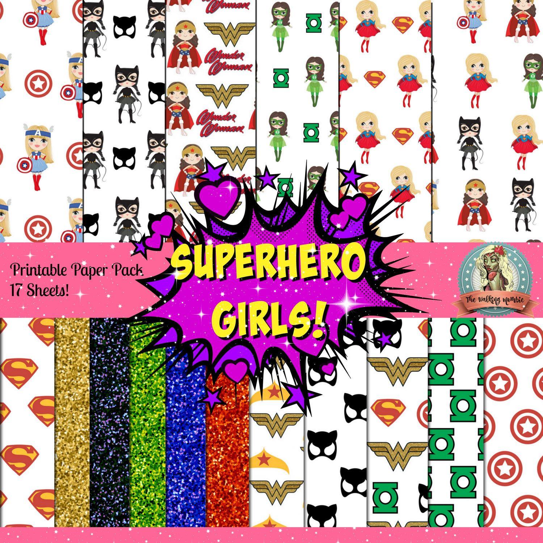 Scrapbook paper disney - Superhero Girls Printable Paper 17 Sheets Superhero Printables Superhero Digital Scrapbook Paper