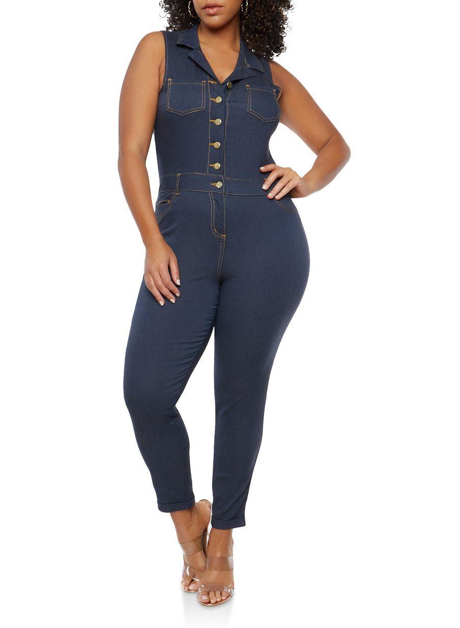 e96c5b16d5c Plus Size Button Front Jumpsuit - Blue - Size 3X