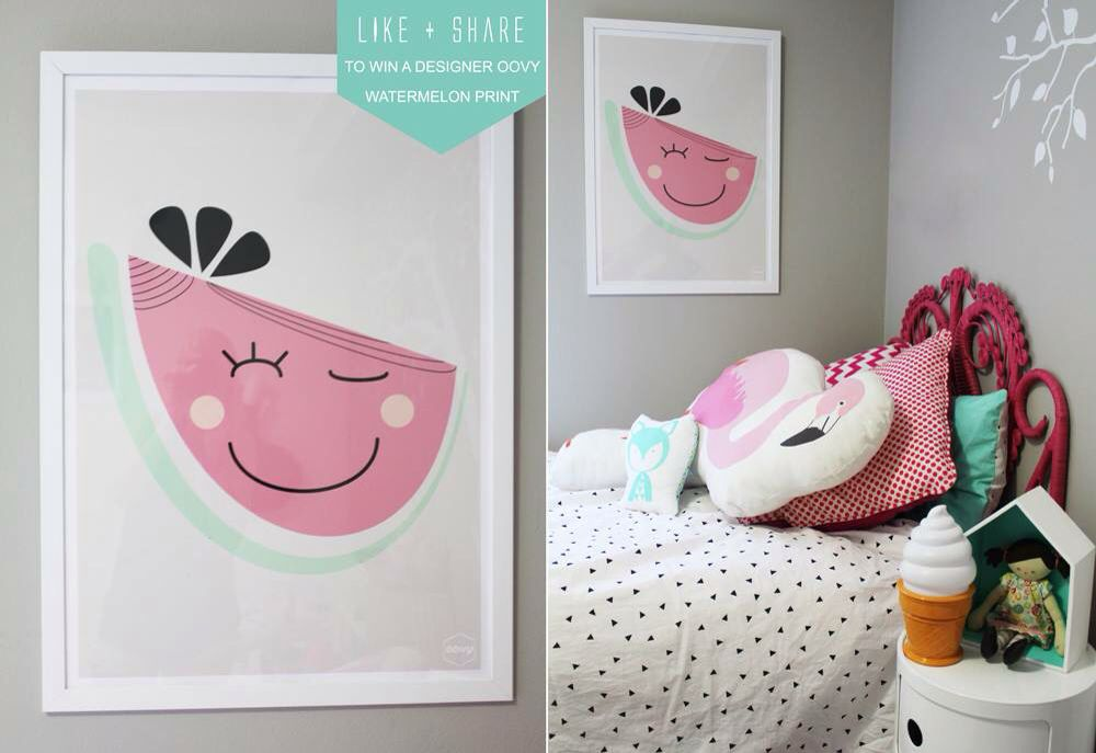 Love this adorable happy watermelon print for my girls room by OOVY