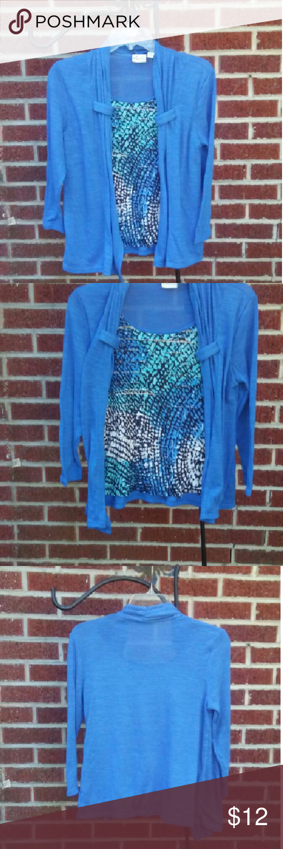 Kim Rogers Mulicolored Top with Attached Cardigan Top has flirty multicolor ruffles on front,with a blue attached cardigan.  Body:97% polyester,3%spandex; Inset:97% polyester,3%spandex Size:PS Kim Rogers( Petite) Tops
