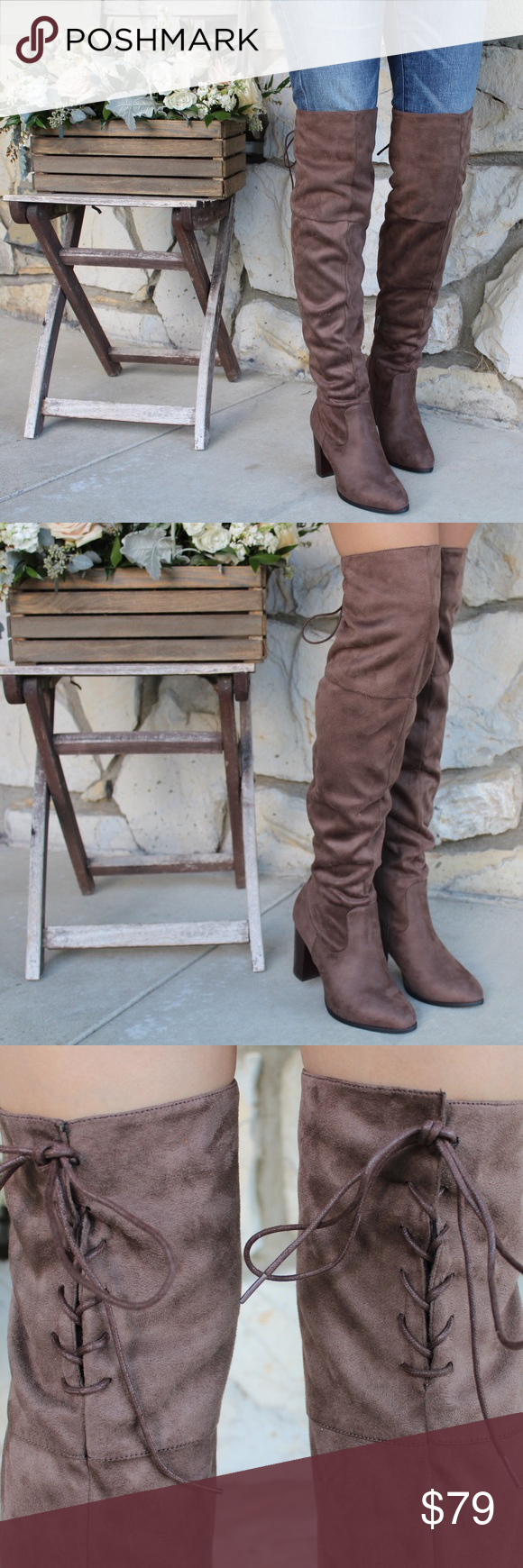 Taupe Stretchy Thigh High Boots 💛 Every Girl Needs a Tall Boot in Her Life! 💛Brand New In Box 💛Heel Height 2.75 Inches💛 Rear Lace Up and Zipper inside💛 True to Size💛 Vegan Materials 💛 Feel free to ask questions! 🌸www.thefairyden.com🌸 The Fairy Den Shoes Heeled Boots