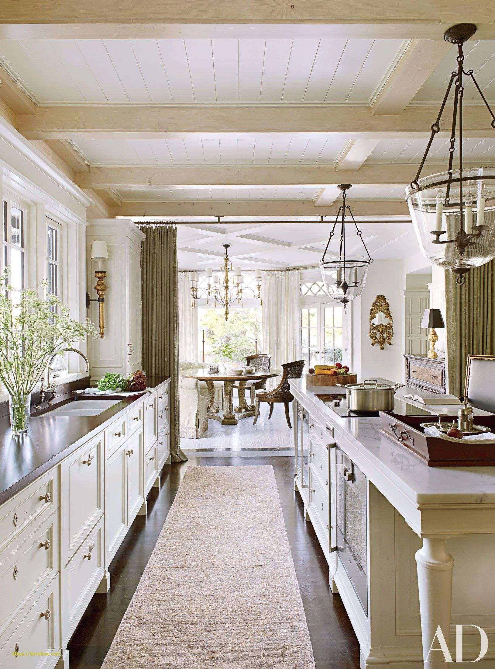 Open concept kitchen and living room new stylish long narrow