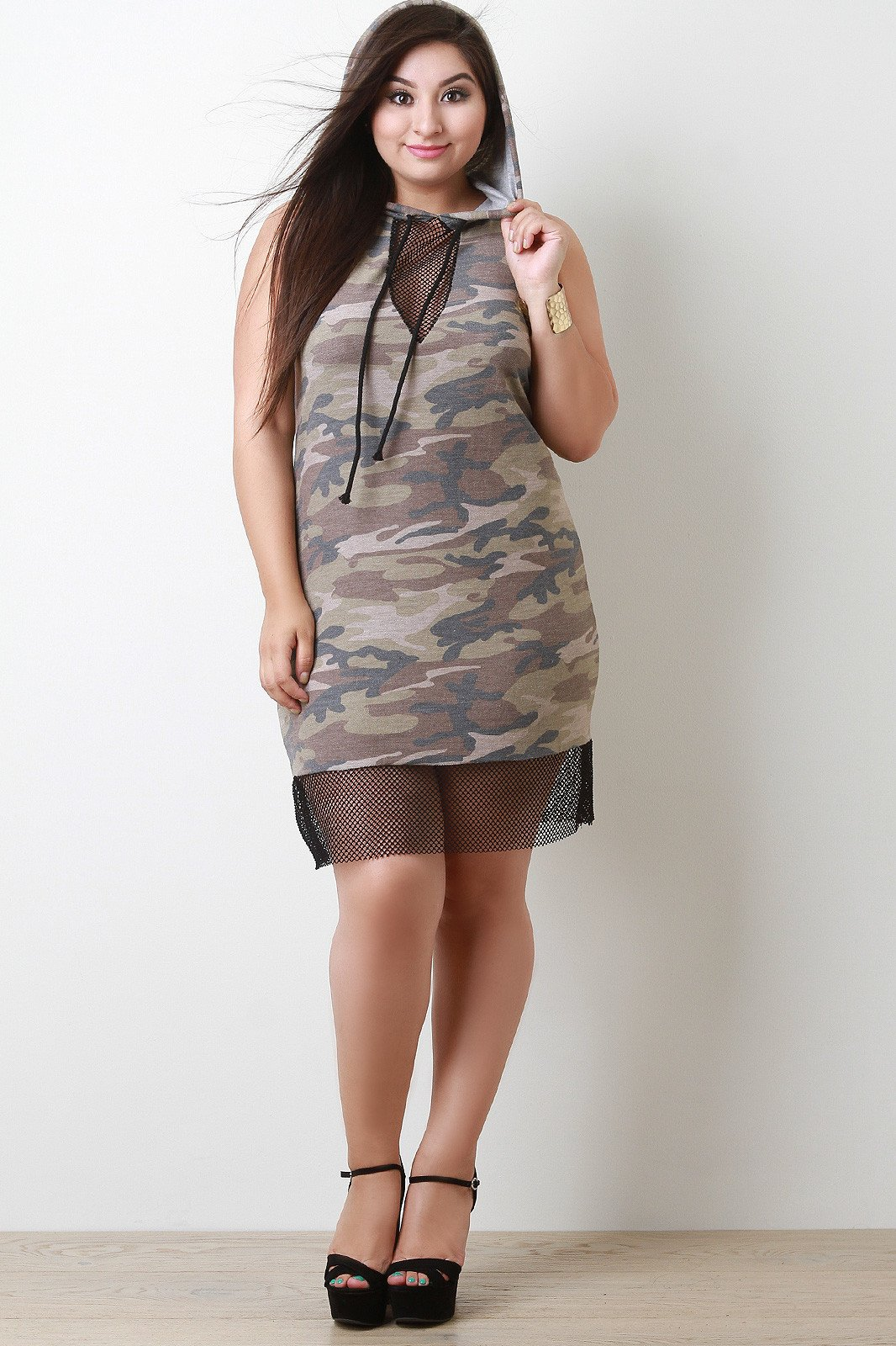 60527db96a65 French Terry Camouflage Fishnet Inset Hoodie Dress | Products ...