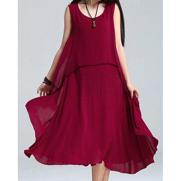 Stylish Scoop Neck Loose-Fitting Sleeveless Dress For Women