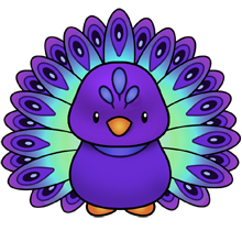 Cute animal peacock. Purple peacocks flamingoes drawings