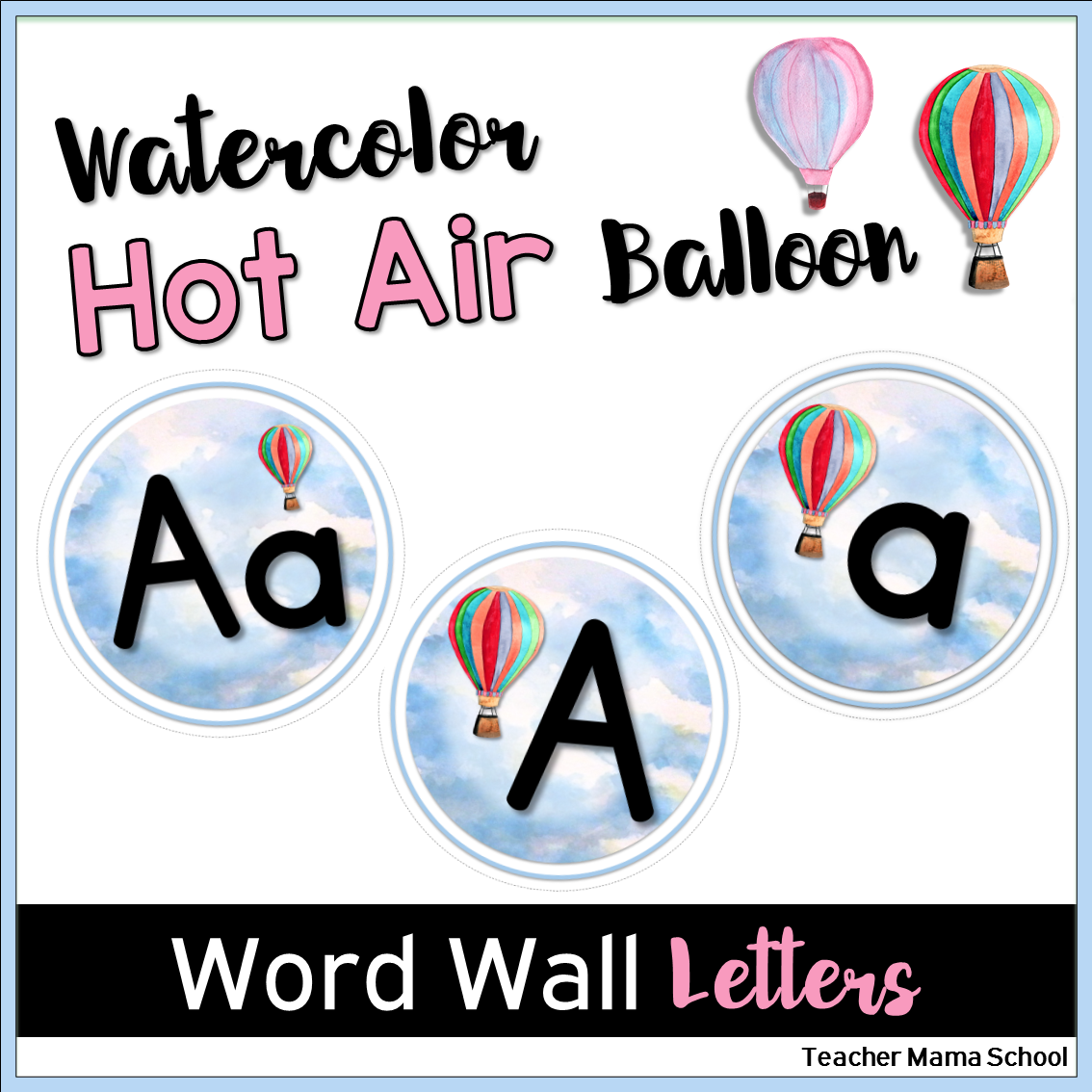 Word Wall Letters Glamorous Word Wall Letters Only  Watercolor Hot Air Balloon Theme  Word Decorating Design