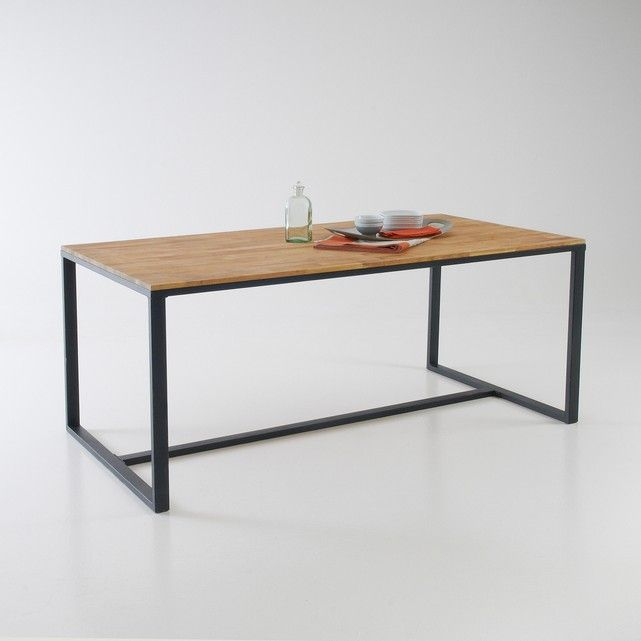 The Hiba Solid Joined Oak And Steel 6 8 Seater Table Inspired By