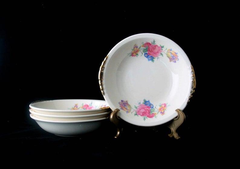 Paden City Pottery Floral Pattern with Gold Trim Vintage Bowls