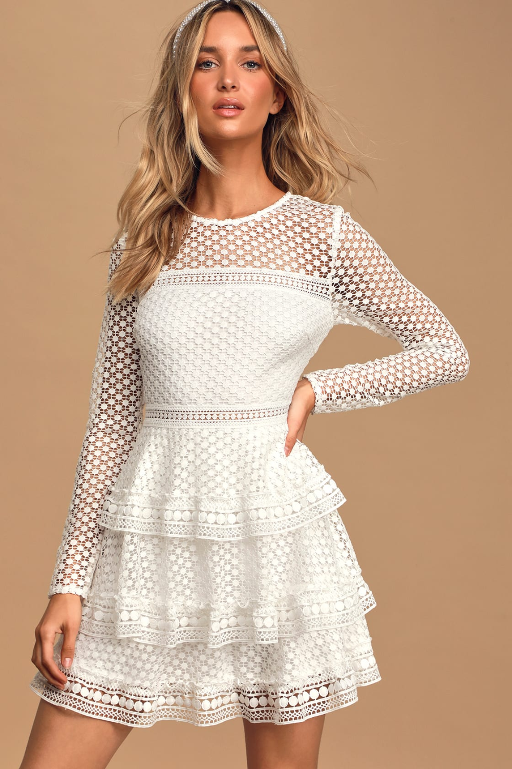Begins With Love White Crochet Lace Tiered Mini Dress Mini Dress White Dresses For Women Mini Dress Formal [ 1500 x 1000 Pixel ]