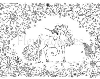 Coloring Page Flower Moon Printable Galaxy Art By Fleurdoodles