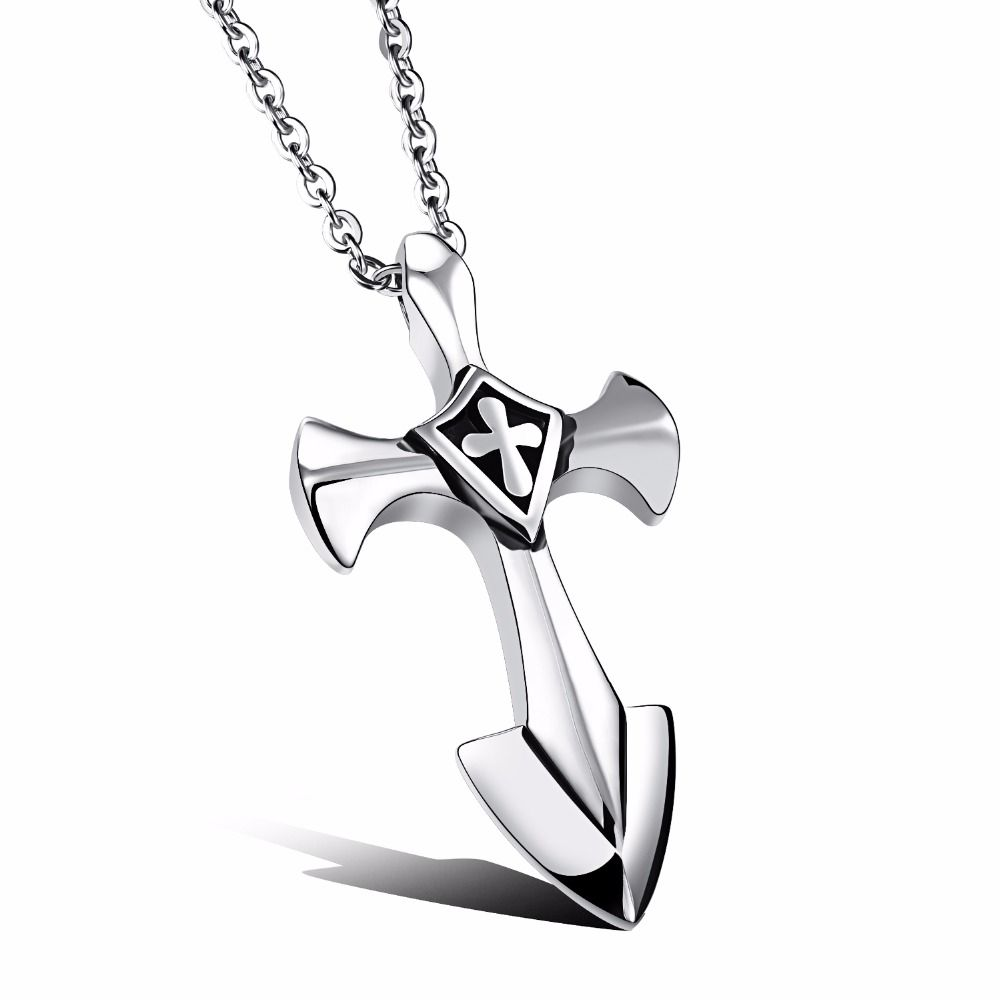 Classic mens cross necklace stainless steel large iron toretto