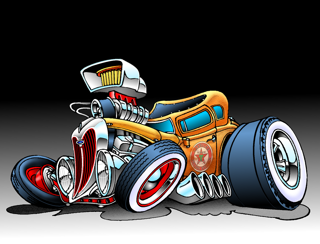 Hot Rod Car Cartoon Art Cars Cool Car Drawings
