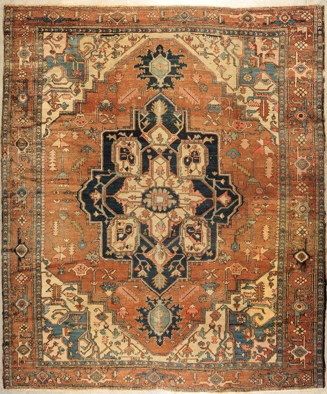 Antique Persian Serapi Heriz Carpet Large Spacious Navy Blue