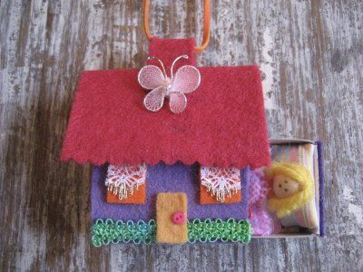 match box fairy house. Made these for Lucy's 4th birthday party. They are still treasured a year and a halflater.