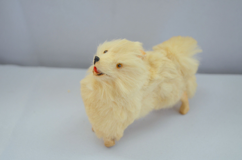 French Salon Miniature Mohair Paper Mache Dog Pomeranian