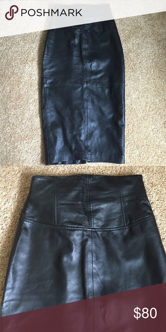 ASOS genuine leather pencil skirt Amazing quality. Beautiful shape. I would say it's on the smaller size of size two. Worn once. ASOS Skirts Midi