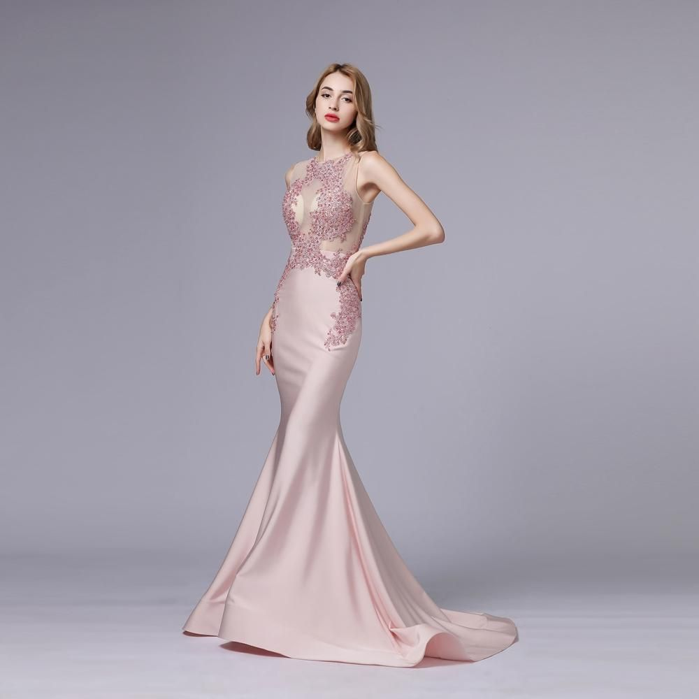 New luxury pink satin mermaid evening dress promdress2019