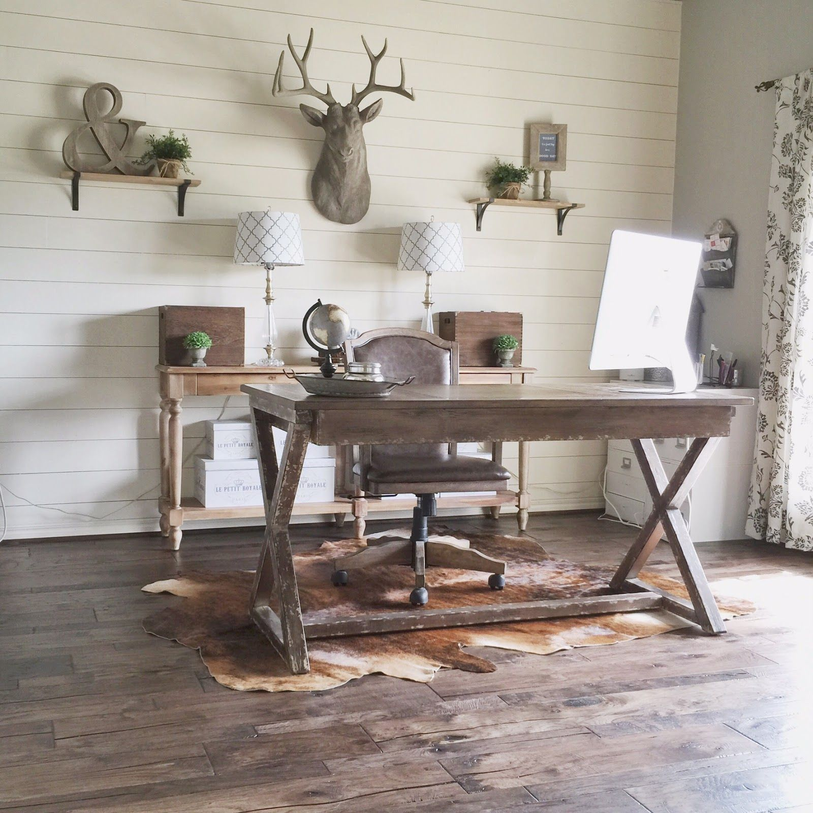 rustic modern office. DIY-shiplap-wall-in-a-rustic-home-office- Rustic Modern Office Pinterest