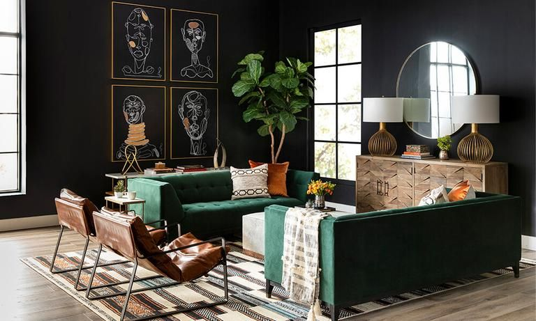 Room Ideas Living Room Comfort Factors Page 2 High Fashion Home In 2020 Green Living Room Decor Dark Living Rooms Dark Walls Living Room #tan #and #black #living #room