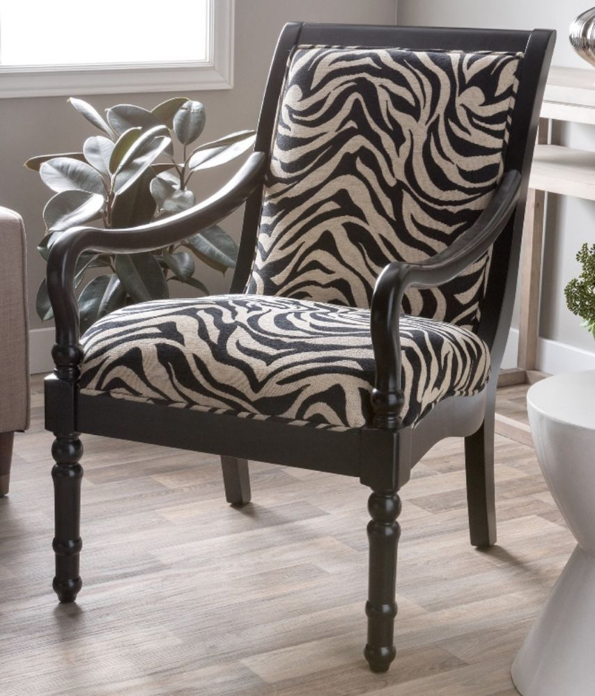 Turned Leg Solid Wood Zebra Print Modern Accent Arm Chair Living