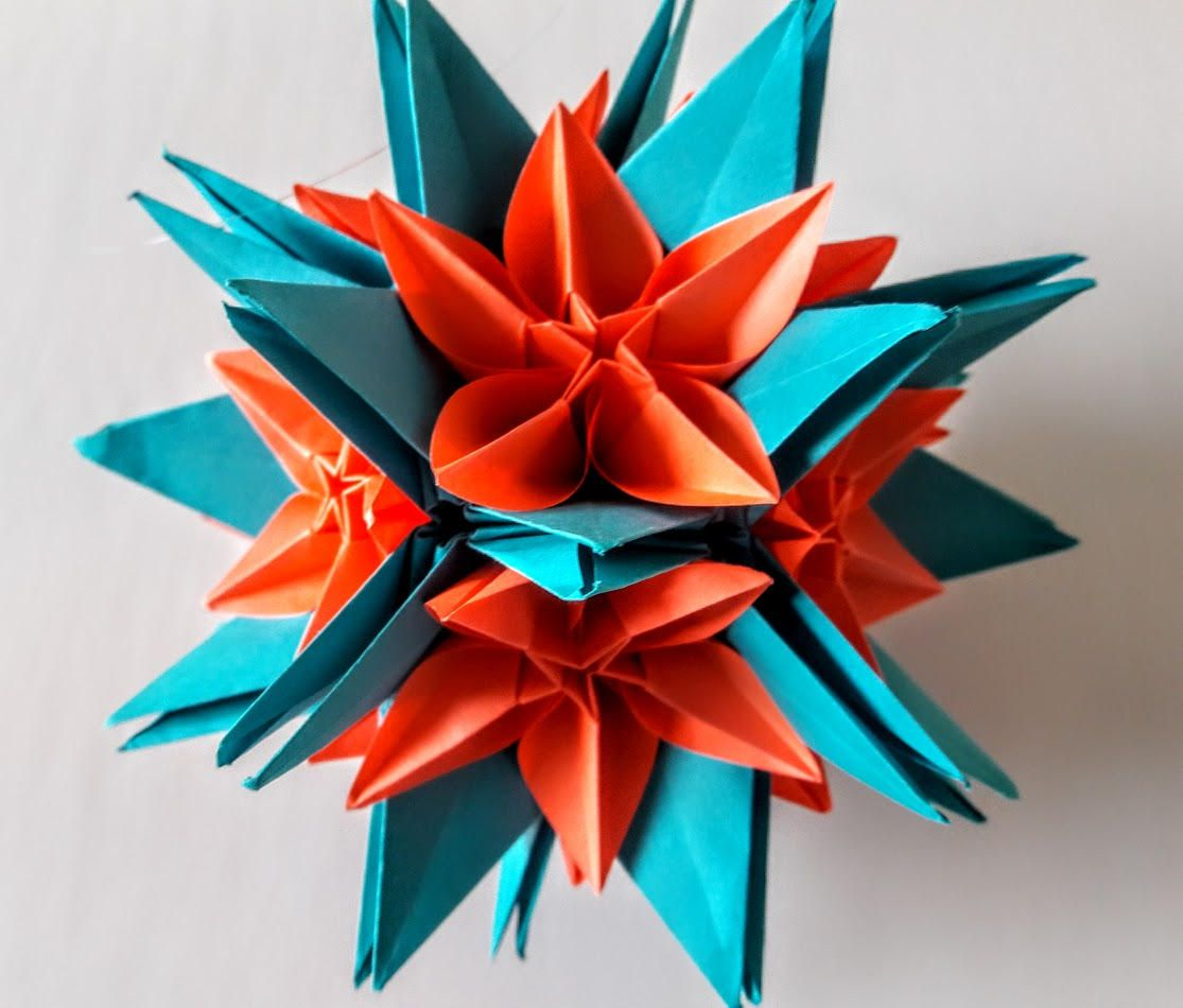 3d Origami Crinum Kusudama With Carambola Flowers 3d Origami Art