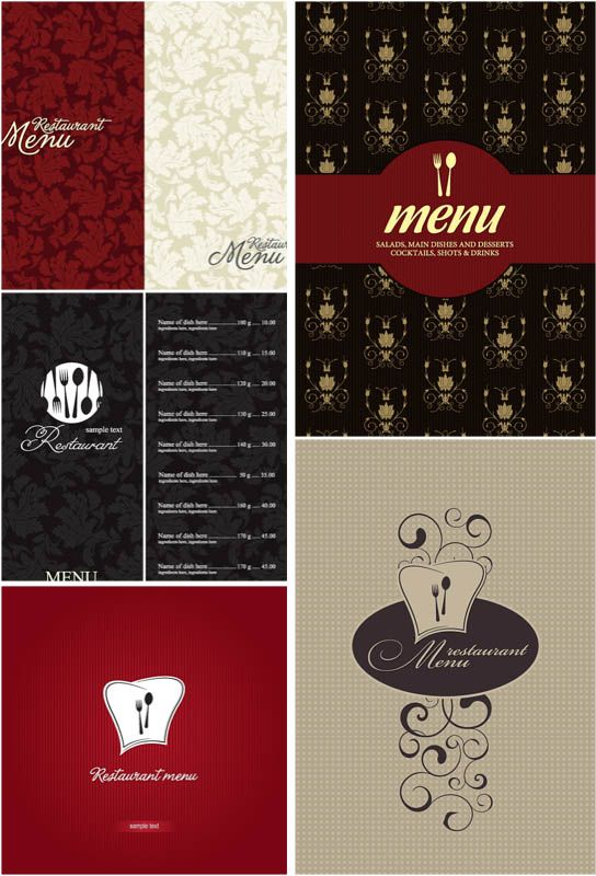Modern Cafe Menu Designs Vector  Free Vector Graphic Resources