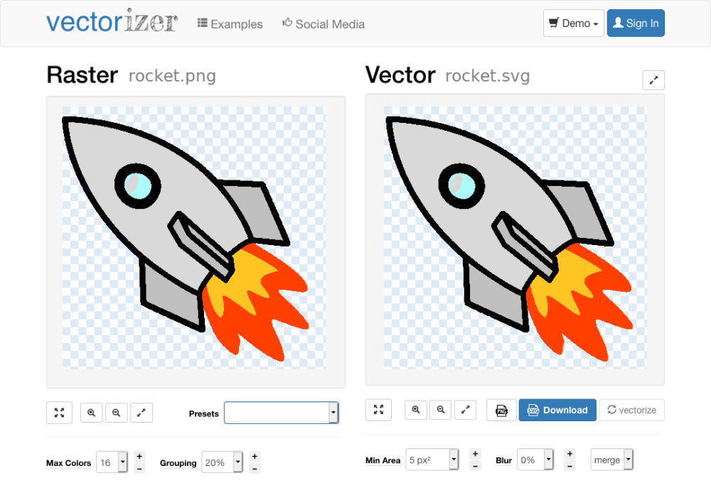 Online raster to vector converter. Convert your images