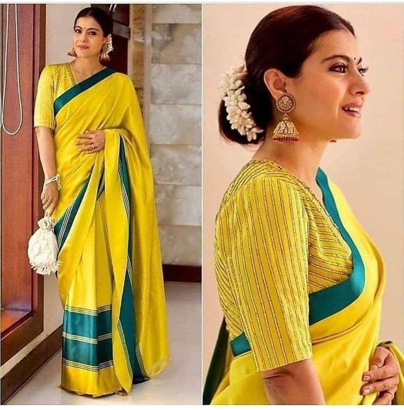 Soft Lichi silk saree And blouse for women,saree,saree for women,saree dress wedding saree,Indian saree,sari,saris,yellow saree