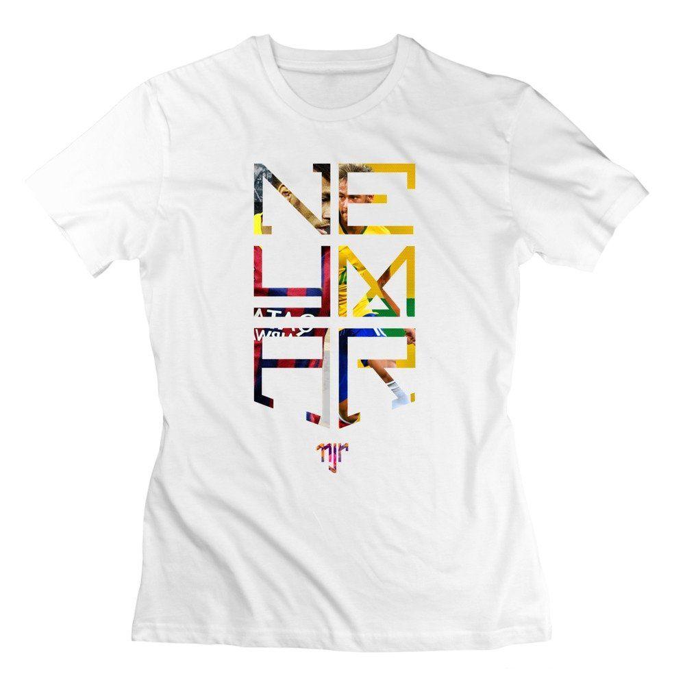 ce1f412452395 QDYJM Women's Neymar JR Logo Soccer T-shirt - L White | Neymar JR ...