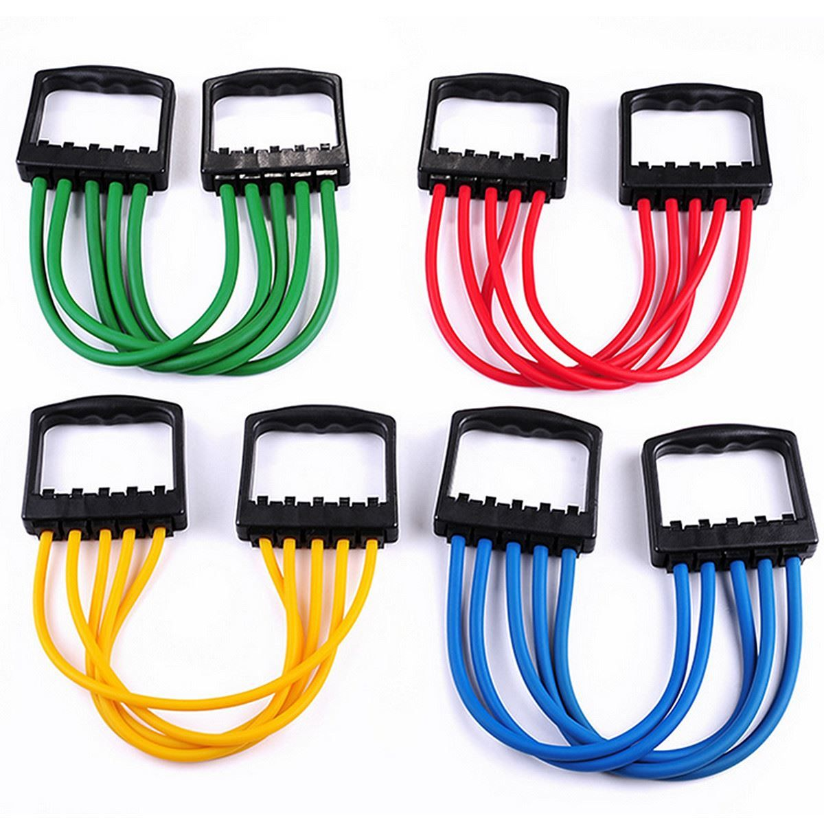 5-Spring Latex Tube Exerciser Resistance Cable Bands Fitness