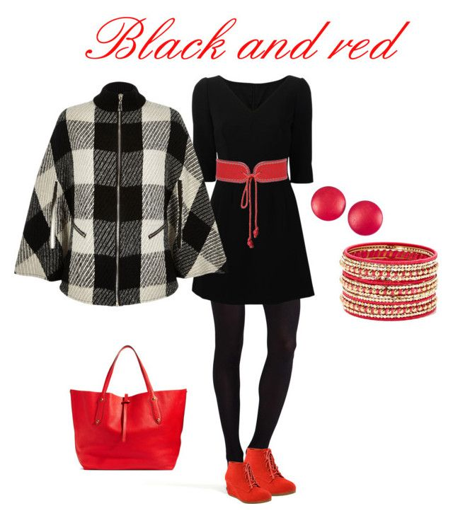 """""""Black and red"""" by kacenka-1 on Polyvore featuring Commando, Dolce&Gabbana, Yves Saint Laurent, River Island, Cara Couture, Charles Jourdan and Annabel Ingall"""