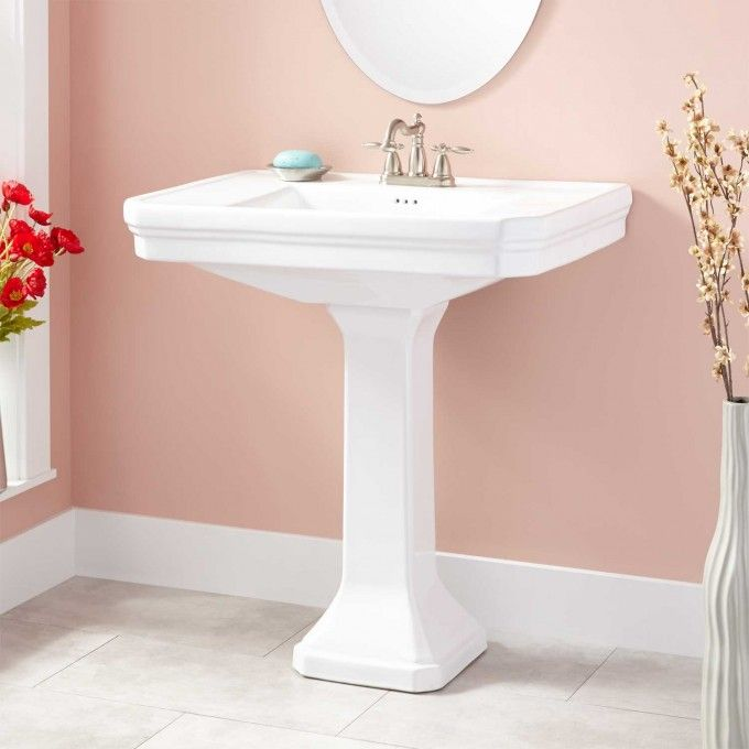 Low profile pedestal sink soft material