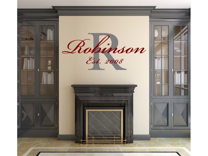Family Monogram Last Name Year Established Wall Vinyl Decal - Family monogram wall decals
